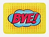 TRAzz Going Away Party Bath Mat, Comic Book Bubble Text Retro Style Bye Cartoon Design Art, Plush Bathroom Decor Mat with Non Slip Backing, 23.6 L X 15.7 W inches, Hot Pink Pale Blue Yellow