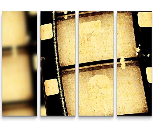 4 teiliges Canvas Bild 4x30x90cm Fotografie – alte Filmrolle 16mm (Vintage Filmrolle)