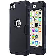 ULAK - Cover per iPod Touch 6 / 5 Case -iPod Touch 6 Custodia ibrida a protezione integrale con parte esterna in 3 strati di morbido silicone e interno rigido per Apple iPod Touch 6 / 5 Generation(Nero+Nero)