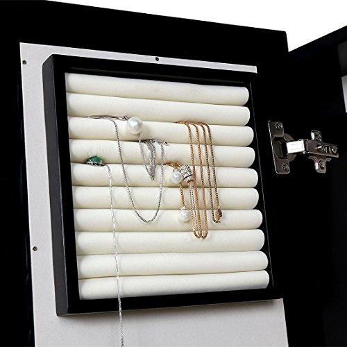 HLC Klassische Wandmontage Schmuckschrank Schminkschrank Schmuck Spiegelschrank Schmuckkasten mit Wandspiegel aus Holz - 8