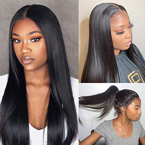 Lace Front Wig Straight Hair Top Swiss Lace Free Part Human Hair Wig Natural Color Brazilian Virgin Hair Unprocessed Bleached Knots with Baby Hair Long 22 inch ... (Iron Flat Wave)