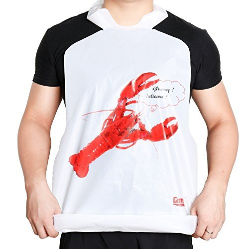 25 Pack Disposable Plastic Lobster Bibs Crawfish Bibs