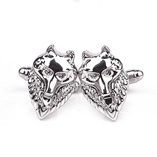 Lupi Animali Gemelli Polsini Uomini Camicie Costumi Accessori,Silver-M