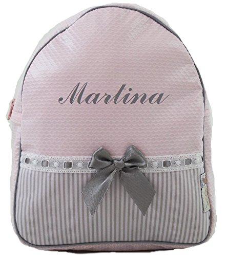 Imagen de bordaymas/conjunto guardería o colegio  + bolsa de merienda lenceras personalizadas con nombre en plastificado y tela rosa, rayas gris y pasacintas gris alternativa