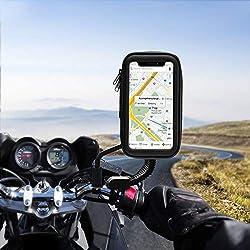 solawill Support Téléphone étanche Universel Support Moto 360° Rotatable Scooter rétroviseur téléphone Support Étui Imperméable pour iPhone XS Max/X/8 Plus, Galaxy S9 téléphone jusqu'à 6,2 pouces