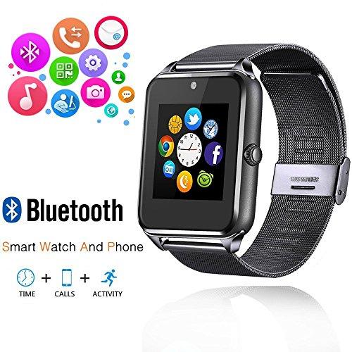 AHSSZ Bluetooth Smart Watch Unterstützung SIM / Micro SD Card Wrist Phone Kompatibel mit Android und Teil der Funktionen für iOS (HD Touch Screen / Handsfree / Telefonieren / Kamera / Sedentary)GT09(schwarz)