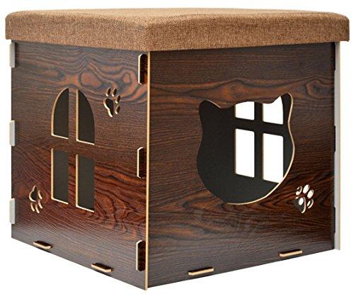 EYEPOWER stabile Katzenhöhle 46x46x46cm inkl. Kratzbrett Katzenhaus im Sitzhocker Sitzwürfel Holz Kuschel Höhle Braun