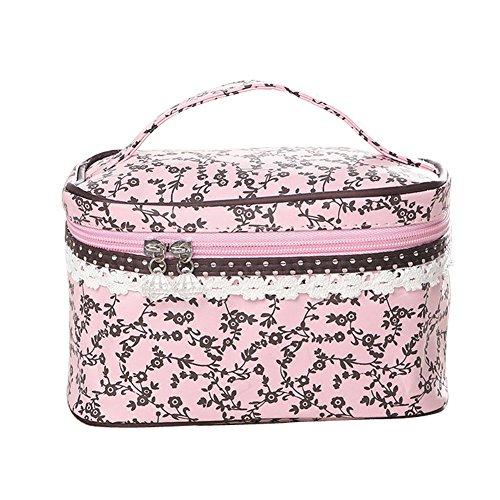 Qearly Nettoyable et Durable Trousse de Toilette/ Étui à Accessoires de Toilette/Zipper Sac/toiletry bag-Rose