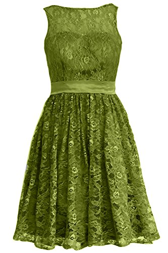 MACloth Women Straps Lace Short Bridesmaid Dress Cocktail Party Formal Gown Olive Green