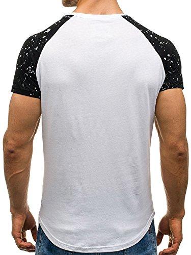 BOLF �?T-shirt con maniche corte �?Stampa �?Motivo �?Uomo [3C3] Bianco