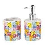 Dispensador y portacepillos de baño de cerámica Rosa Infantil para Cuarto de baño Child - LOLAhome