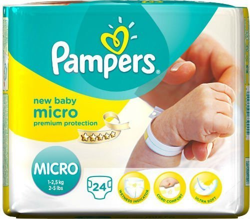 Pampers New Baby Size 0 (Micro) Carry Pack 24 x 2 Total 48 Nappies 51CSP69C83L