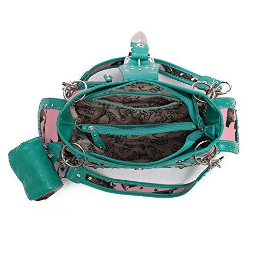 Blancho Biancheria da letto delle donne [Foglia] PU cinturino in pelle portafoglio cerniera borsa della carta fucsia Holder Handbag-TURQ