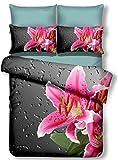 DecoKing Premium 01035 Bettwäsche 135x200 cm mit 1 Kissenbezug 80x80 Amarant 3D Microfaser Bettbezug Bettwäschegarnitur Blumen Blumenmuster Rosa Pink Stahl Grau Anthrazit Steel Grey Nero