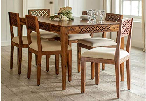 CIZEN Sheesham Wood Dining Set 6 Seater | for Home & Dining Room | Wooden Dinning Table with 6 Vintage Curved Chairs | Dining Room Set | Included Cushions | Natural Teak