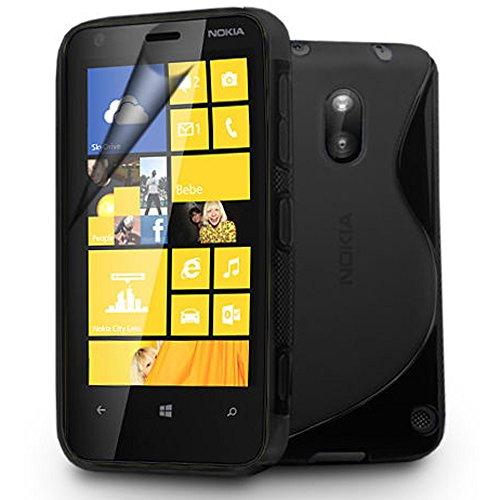 VCOMP Nokia Lumia 620: Guscio di silicone gel motivo S S-Line - NERO