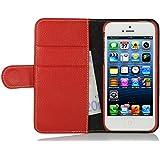StilGut Talis Schutz-Hülle für iPhone SE mit Kreditkarten-Fächern aus echtem Leder. Seitlich aufklappbares Flip Case in Handarbeit gefertigt für das Original Apple iPhone SE, Rot