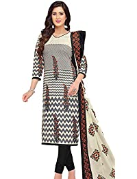 Baalar Elegance Women's Grey Color Pure Printed Cotton Unstitched Dress Material With Cotton Dupatta