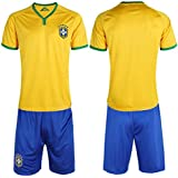 Brazil Team Jersy With Shorts-Sweat Jersey For Boys (Free Size Waist 20 To 26)