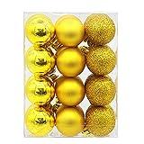 Junjie 24Pcs Weihnachtskugeln Kugeln Party Weihnachtsbaum Dekorationen Hängende Verzierung Größe: 9X6X12cm, Ball Größe: 3X3CM
