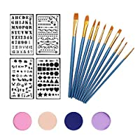 walolo Face Painting Kit, Paint Brushes 10 Pack, 4 Multi-color Sponges and 4 Page Reusable Stencils