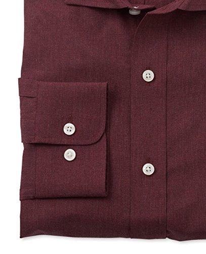 Savile Row Men's Burgundy Peached Smart-Casual Classic Fit Single Cuff Shirt Burgundy