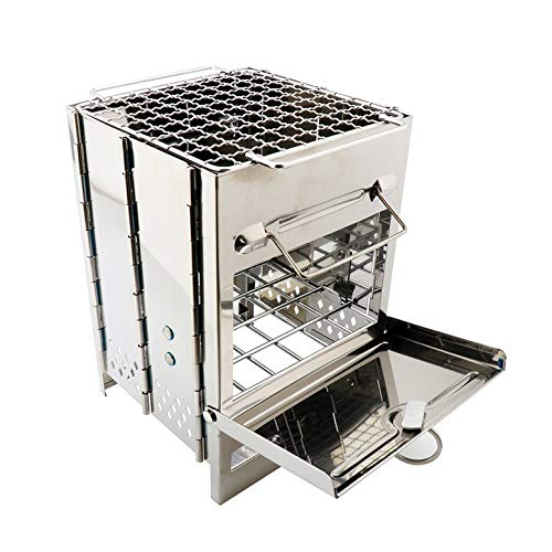 ArgoBear Stainless Steel Square Wood Stove Foldable Grill Outdoor Mini Charcoal Stove Portable BBQ Picnic Stove