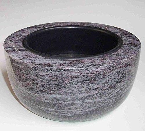 "designgrab ""Modern grande"" Grabschale Durchmesser 34 cm aus Granit Granit Orion Blue / Coromandel / Bahama Blue Friedhofsschale Grabschmuck Granitschale Pflanzgrabschale Grabmalschale Pflanzschale"
