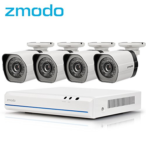 Zmodo 4 Kanal 1080p HDMI NVR Überwachungssystem mit 4 echten 720p HD sPoE Überwachungskameras, indoor/outdoor, IP65 wetterfest, Bewegungsmelder, keine - Outdoor-cat5e-kabel