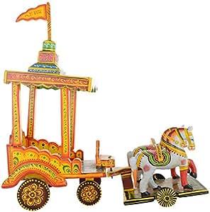 Agrawal Toys Emporium Wooden Rath Figurine (40 cm x 15 cm x 33 cm)