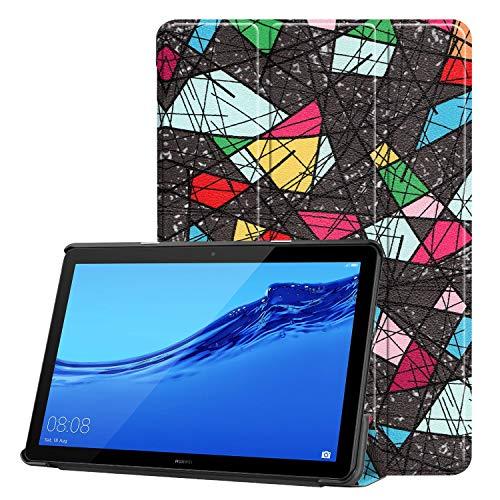 VYNOPA CASE Für Huawei MediaPad T5 10 10,1 Zoll (2018 Release) Fall, Eule Schmetterling Blume Löwenzahn Eiffelturm Design Smart Tablet Case Trifold Stand (Pattern : 7)