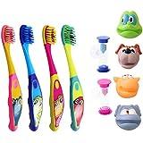 COM de Four® Juego de 4Cepillo de dientes rsten Niño, 4diferentes motivos de animales con reloj de arena Amarillo & Azul Plus gratis Niños dientes Crema