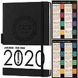 Agenda 2020 A5, Agenda Settimanale Copertina in Pelle con Passante per Penna e Carte Spesse, Tasca Interna e 88 Pagine per Appunti in Confezione Regalo