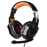 Gaming Headset ,G2000 PS4 Xbox One PC KingTop Stereo Gaming Kopfhörer mit Mikrofon LED Licht Bass Lautstärkeregelung für PS4 Xbox One PC Smartphone (Orange)