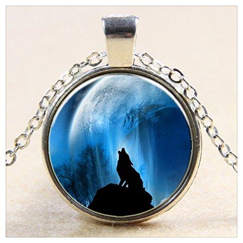 Collana Lupo, Luna piena ciondolo collana, Lupo, Lupo, Lupo Collana, Blue Moon, portafoto in vetro Art ciondolo collana - Blue Moon Vetro