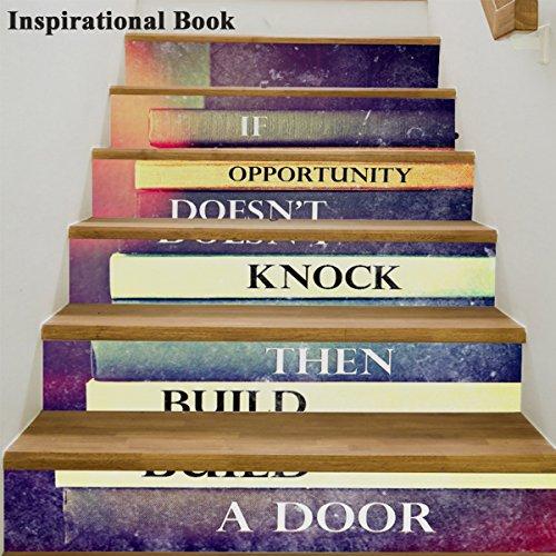 Inspirierende Buch (LUSTAR 6 Teile/Satz 3D Selbstklebende Inspirierend Buch Treppen Aufkleber Kreative Dekorative Aufkleber DIY Schritte Aufkleber Abnehmbare Treppen Für Wohnzimmer Dekoration)