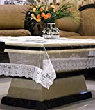 #8: Kuber Industries Transparent Center Table Cover 4 Seater 40*60 Inches (Silver Lace)