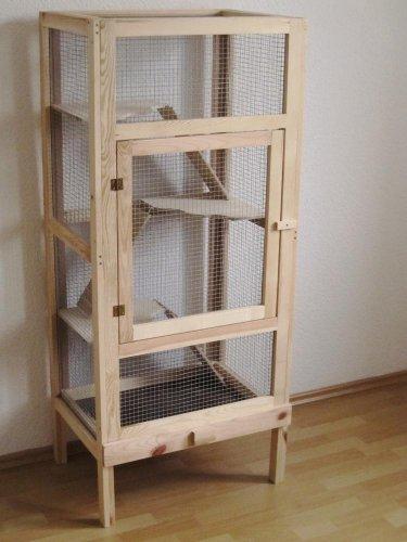 Rohrschneider Nagerkäfig, Kaninchenstall, Nagervoliere Woody, Maße: ca. 44 x 60 x 140 cm