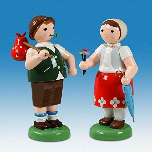 Bauernpaar mit Proviant und Schirm h=24 cm