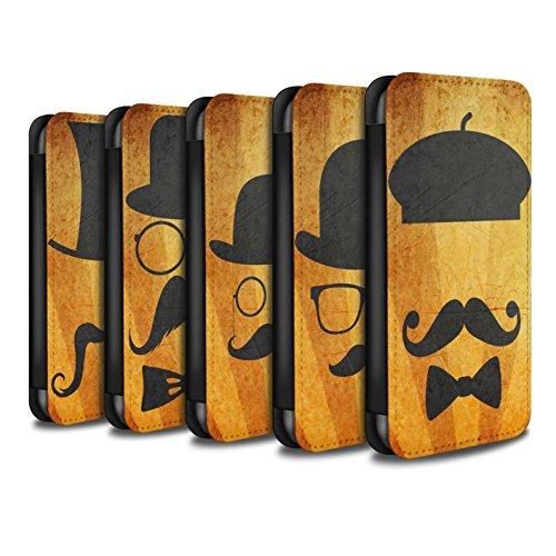 Stuff4 Coque/Etui/Housse Cuir PU Case/Cover pour Apple iPhone 7 / Pack 5pcs Design / Rétro Moustache Collection Pack 5pcs