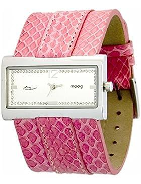 Moog Paris - Miroir Damen Uhr mit Silber Zifferblatt, Swarovski Elements & Rosa Armband aus Echtem Schlangenleder...