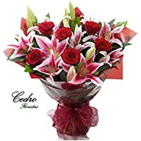 Ramo de flores naturales Rosas y Liliums - Servicio a domicilio GRATIS en 24 HORAS