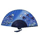 Shuda 1 Pcs Eventail Japonais Style Fleurs Motif Classique Eventail Bambou Eventail Mariage Danse Accessoires Décoration Artisanat Cadeau, 21 * 38cm, E...