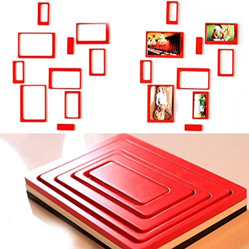 Yazi creative DIY 3d adesivi da parete in legno rettangolare cornice portafoto da appendere carta Photo Frame Set di 10, colore: rosso