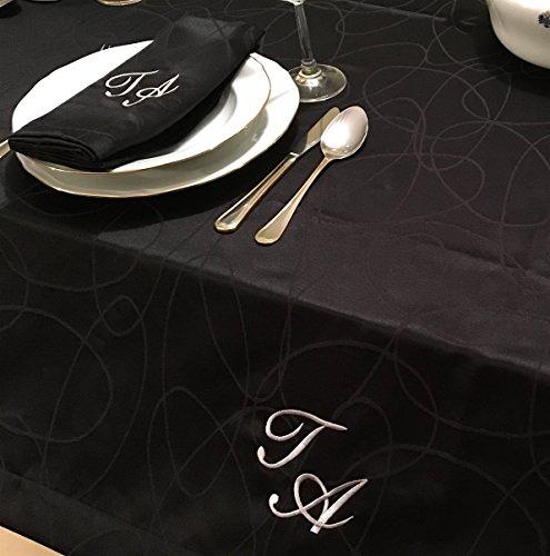 e Monogramm Linien Tischdecke Fleckabweisend beständig, schwarz, 59 x 98