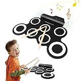 Hizek Elektronische Trommel, 7 Pads tragbar, Drum Pad Kits faltbar mit 2 Fußpedale und Stäbchen, Schwarz
