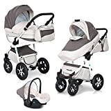3in1 Kombi Kinderwagen Mondo Ecco Baby Leder Version Alu Tech Komplett...