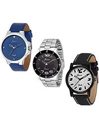 Jainx Triple Combo Multi Color Dial Analog Watch For Men & Boys - JXT802
