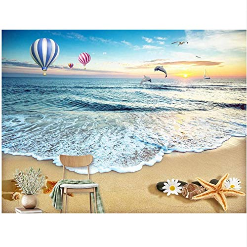 Zjxxm Wallpapers 3D Custom Photo Modern Mural Sea Beach Hot Air Balloon Shells Dolphin Decorative For Tv Background Livingroom -450Cmx300Cm
