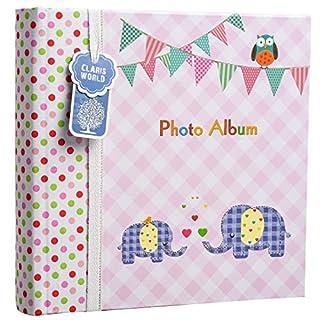 ARPAN Fotoalbum, für 200 Fotos à 15 x 10 cm, Elefant, 23 x 5 x 23 cm, Rosa
